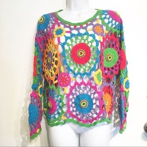 Quirky Bohemian Hand Knit Colorful Beaded Sweater